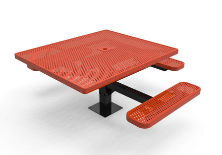 Square Pedestal Picnic Table with 3 Seats - Circular Pattern - 46 In.