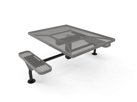 "46"" Square Nexus Pedestal Picnic Table with 2 ADA Seats - Diamond Pattern / Expanded Steel"