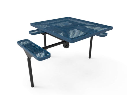 Square Nexus Pedestal Picnic Table with 3 Seats - Diamond Pattern - 46 In.