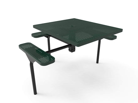 Square Nexus Pedestal Picnic Table with 3 Seats - Circular Pattern - 46 In.