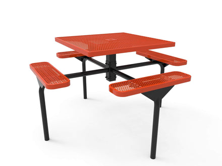 Square Nexus Pedestal Picnic Table with 4 Seats - Diamond Pattern - 46 In.