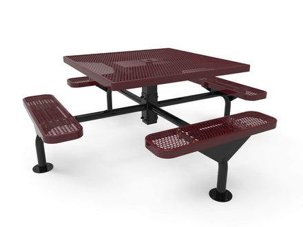 """46"""" Square Nexus Pedestal Picnic Table with 4 Seats - Diamond Pattern / Expanded Steel"""