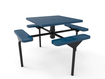 Square Nexus Pedestal Picnic Table with 4 Seats - Circular Pattern - 46 In.