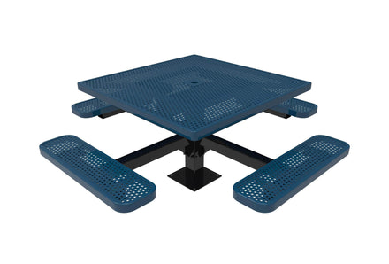 Square Pedestal Picnic Table with 4 Seats - Circular Pattern - 46 In.