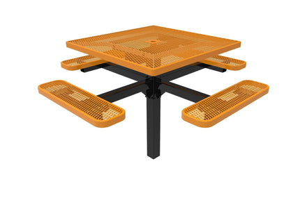 Square Pedestal Picnic Table with 4 Seats - Diamond Pattern - 46 In.