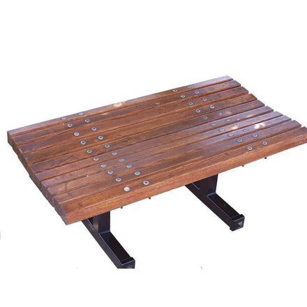 Curved Wood Backless Park Bench - 8 Ft.