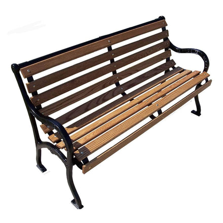 Plain Slatted Wood Park Bench - 72 In.
