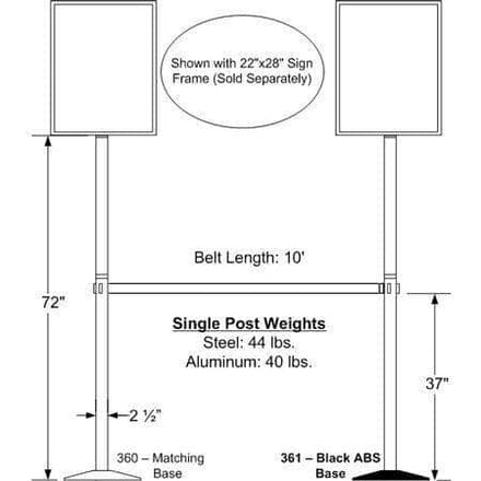 Visiontron 6 Feet Tall Sign Post with Metal Base Cover - 10 Ft. Belt