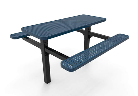 Double Pedestal Rectangular Picnic Table - Circular Pattern - Inground Mount
