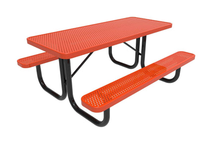 Rectangular Portable Table - Circular Pattern / Punched Steel