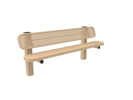 Single Pedestal Park Bench with Back - Circular Pattern