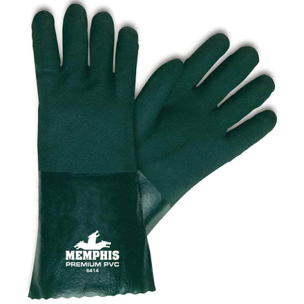 Memphis Glove Premium Double Dipped PVC Gloves - Large Dark Green