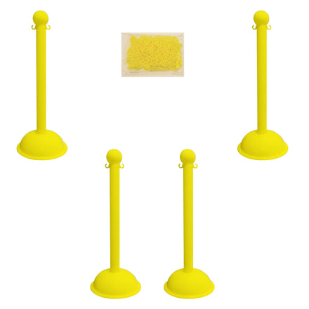 Heavy Duty Plastic Stanchion Posts and Chain Kit with (6) Posts and 50 Ft. of Chain in Your *Choice of Colors*