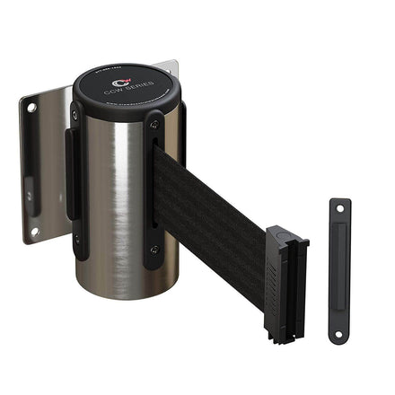 CCW Series WMB-120 Wall Mounted Retractable Belt Barrier Fixed, Stainless Steel Case - 7.5 and 10 Ft. Belt