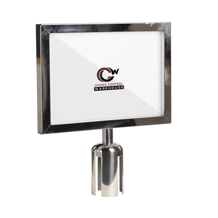 Post Top Sign Frame for Retractable Belt Barriers