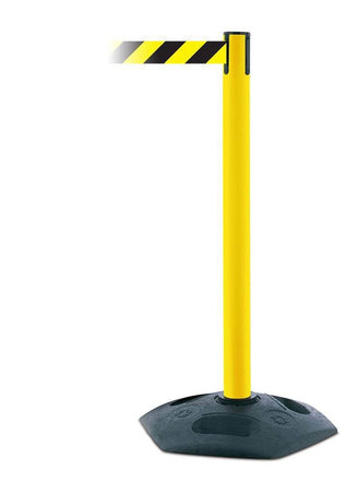 Tensabarrier 886 Heavy Duty Retractable Belt Utility Stanchion Yellow post with Black and Yellow diagonal stripe belt