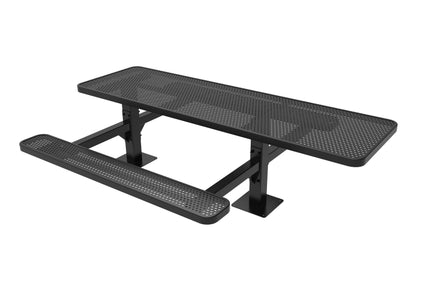 8' Double Pedestal Rectangular Picnic Table - Circular Pattern / Punched Steel - Surface Mount