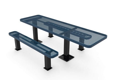Rectangular Independent ADA Accessible Picnic Table - Diamond Pattern - Surface Mount - 8 Ft.