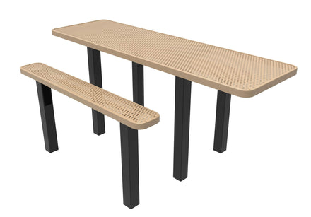 8' Rectangular Independent ADA Accessible Picnic Table - Circular Pattern / Punched Steel - Inground Mount