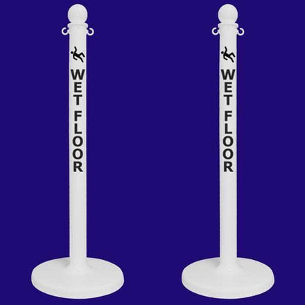 2.5 in. 'WET FLOOR' White Plastic Ball Top Stanchion