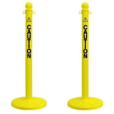 "2.5"" ""CAUTION"" Yellow Plastic Ball Top Stanchion"