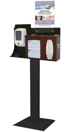 Respiratory Hygiene Station Floor Stand With Fixed Dispenser Mounting Area