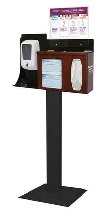 Floor Stand Dispenser: Earloop face covers, Facial tissue, and Hand Sanitizer