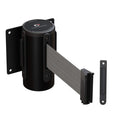 CCW Series WMB-120 Wall Mounted Retractable Belt Barrier Fixed, Black Steel Case - 7.5 Ft. and 10 Ft. Belts