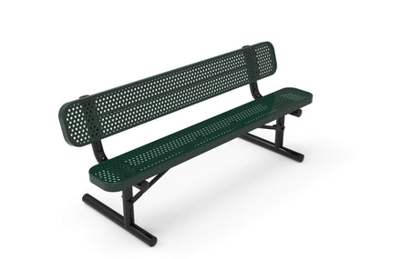 Standard Park Bench with Back - Circular Pattern / Punched Steel