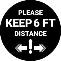Floor Sticker: Please Keep 6FT Distance (Exclamation Point) - 8 inches Diameter