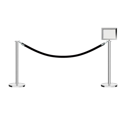 CCW Post and Rope Stanchion Kit with Flat Top Posts, Hanging Velvet Foam Core Ropes (6ft. each) and Sign Frame