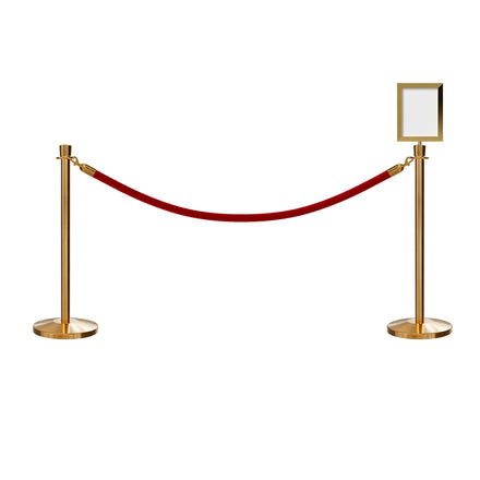 Post and Rope Stanchion Kit, Crown Top Posts, 6 Ft. Velvet Foam Core Rope and Sign Frame - Montour Line