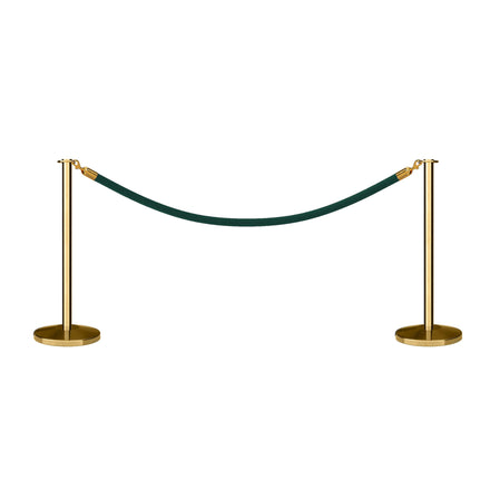 Post and Rope Stanchion Kit, Flat Top Posts, 6 Ft. Heavy Duty Velvet Rope and Sign Frame - Montour Line