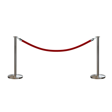 Post and Rope Stanchion Kit, Flat Top Posts, 6 Ft. Velvet Foam Core Rope and Sign Frame - Montour Line