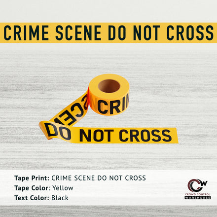 Caution Tape, 2.0 mil x 1000 Ft. x 3 Inch, Black Text Color - Trafford Industrial