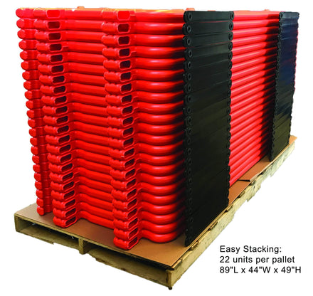 CrowdCade Deluxe Plastic Barricade 22 units stacked on one pallet