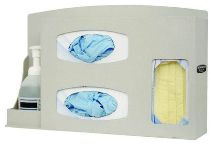 Wall Mounted Protective Dispenser: 1 box face covers, 2 Boxes of Gloves, Hand Sanitizer