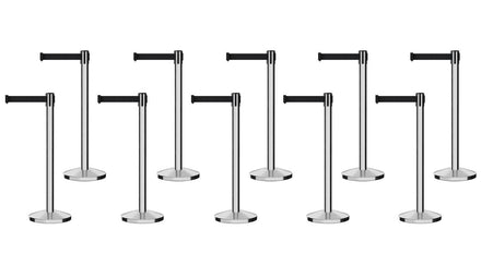 Set of (10) Free Ship CCW Series RBB-100 Polished Stainless Steel Retractable Belt Barriers - 13 Ft. Belt
