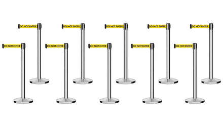 Set of (10) Free Ship CCW Series RBB-100 Polished Stainless Steel Retractable Belt Barriers - 11 Ft. Belt