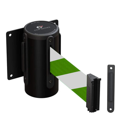 Wall Mounted Retractable Belt Barrier Fixed, Black Steel Case, 8.5 Ft. and 11 Ft. Belts - CCW Series WMB-120