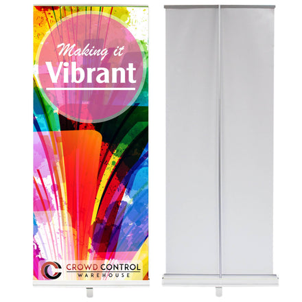 Economy Retractable Banner Stand with Custom Printed Graphic