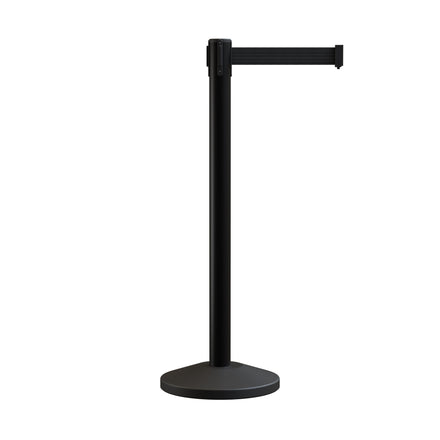 MLine 630 Retractable Belt Barrier Black Post Stanchion - 7.5 Ft. Belt