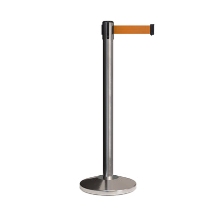 CCW Series RBB-100 Retractable Belt Barrier Polished Stainless Post - 12 Ft. Belt