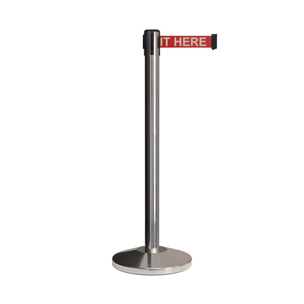 CCW Series RBB-100 Retractable Belt Barrier Polished Stainless Post - 7.5 Ft. Belt