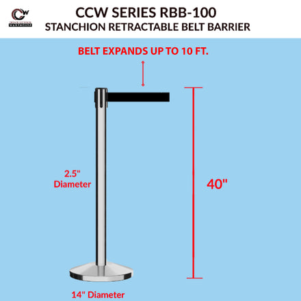 CCW Series RBB-100 Retractable Belt Barrier Polished Stainless Steel Post - 10 Ft. Belt