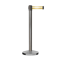CCW Series RBB-100 Retractable Belt Barrier Satin Stainless Steel Post - 7.5 Ft. Belt