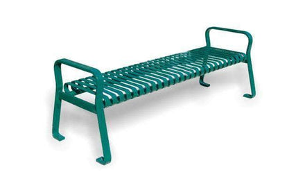 Flat Metal Backless Park Bench with Arms