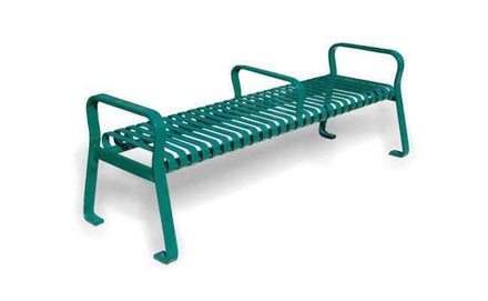 6 Ft. Flat Metal Backless Park Bench with Arms and Center Armrest