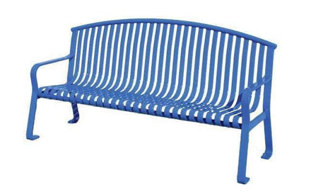 Flat Metal Arched Back Park Bench with Arms