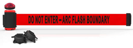 Banner Stakes 7' Magnetic Wall Mount Barrier with Red Strobe Light Kit